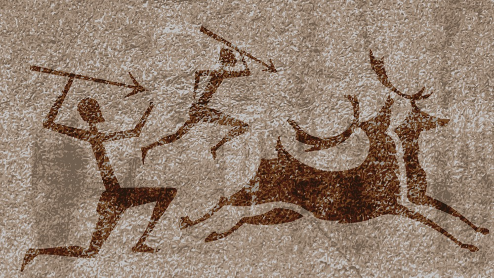 Ancient rock paintings show primitive people hunting on animals vector illustration